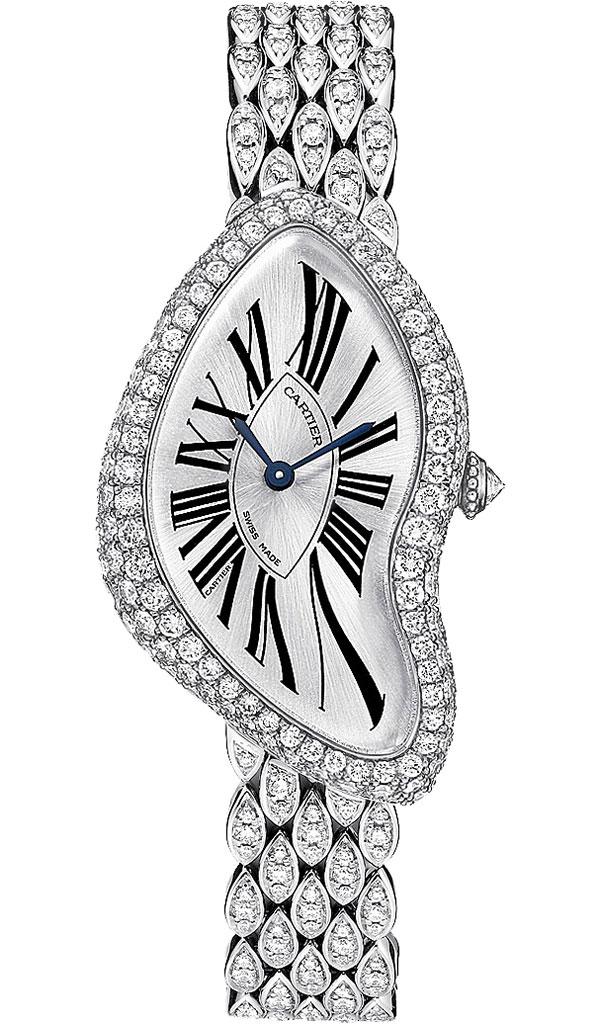 orologio replica oro bianco con diamanti cartier crash